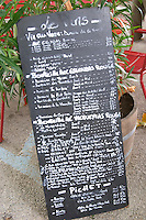 wine shop chalk board gigondas rhone france