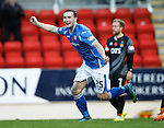 St Johnstone v Kilmarnock...07.11.15  SPFL  McDiarmid Park, Perth<br /> Chris Kane celebrates his goal<br /> Picture by Graeme Hart.<br /> Copyright Perthshire Picture Agency<br /> Tel: 01738 623350  Mobile: 07990 594431