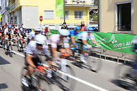 22nd April 2021;  Cycling Tour des Alpes Stage 4, Naturns/Naturno to Pieve di Bono, Italy on 22nd; Riders flash by at speed on course