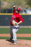 Los Angeles Angels relief pitcher Tyler Stevens (67) during a Minor League Spring Training game against the Colorado Rockies at Tempe Diablo Stadium Complex on March 18, 2018 in Tempe, Arizona. (Zachary Lucy/Four Seam Images)