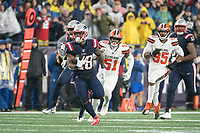 FOXBOROUGH, MA - OCTOBER 27: New England Patriots Runningback James White #28 runs with Cleveland Browns Linebacker Mack Wilson #51 and Cleveland Browns Defensive End Myles Garrett #95 chasing during a game between Cleveland Browns and New Enlgand Patriots at Gillettes on October 27, 2019 in Foxborough, Massachusetts.