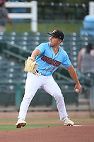 Brent Killam (1) of the Inland Empire 66ers pitches against the Fresno Grizzlies at San Manuel Stadium on May 25, 2021 in San Bernardino, California. (Larry Goren/Four Seam Images)