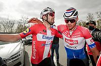 post-finish emotions: race winner Kasper Asgreen (DEN/Deceuninck - Quick Step) getting a hug from runner-up Mathieu Van der Poel (NED/Alpecin-Fenix)<br /> <br /> 105th Ronde van Vlaanderen 2021 (MEN1.UWT)<br /> <br /> 1 day race from Antwerp to Oudenaarde (BEL/264km) <br /> <br /> ©kramon