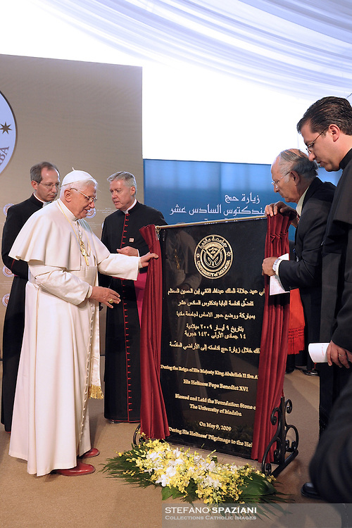 Pope Benedict XVI,BLESSING of the First Stone dell' University of the Latin Patriarchy to Madaba, Jordan Friday, May 8, 2009