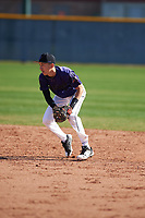 Jonathan Lucio (1) of John F. Kennedy High School in Granada Hills, California during the Baseball Factory All-America Pre-Season Tournament, powered by Under Armour, on January 14, 2018 at Sloan Park Complex in Mesa, Arizona.  (Zachary Lucy/Four Seam Images)