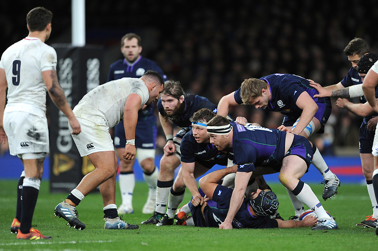 Ben Toolis, Hamish Watson and Simon Berghan of Scotland defend their line during the Guinness Six Nations Calcutta Cup match between England and Scotland at Twickenham Stadium on Saturday 16th March 2019 (Photo by Rob Munro/Stewart Communications)