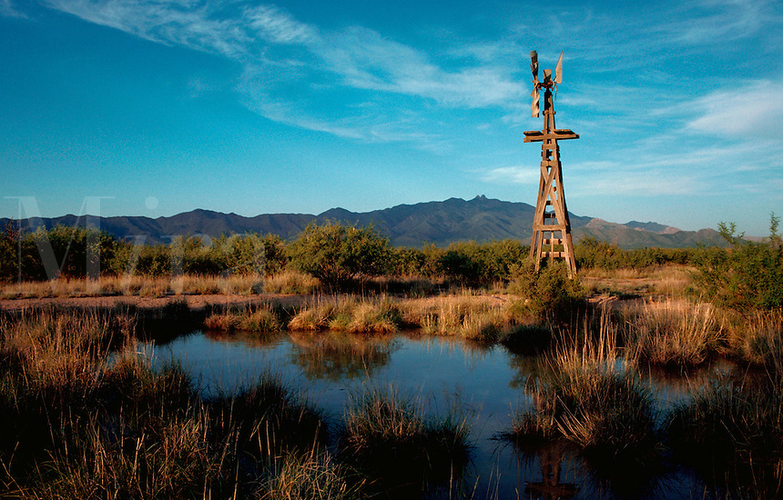 A ranch windmill on a wooden tower is reflected in the water of a dirt stock tank, the Dos Cabezas Mountains in the background. Arizona.
