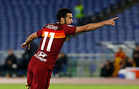Roma s Pedro celebrates after scoring during the Serie A soccer match between Roma and Benevento at Rome's Olympic Stadium, October 18, 2020.<br /> UPDATE IMAGES PRESS/Riccardo De Luca