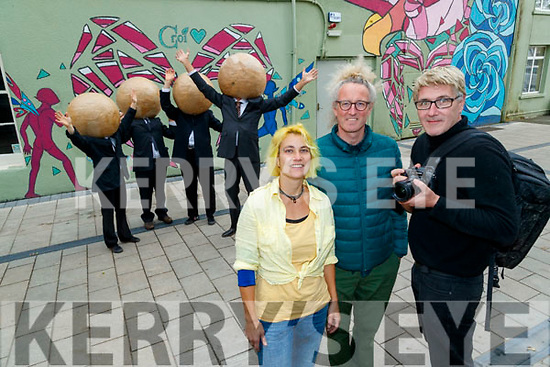 Michaela Heyer, Con Horgan and Maurice Supple from the circus Festival who are recording a video for culture night.
