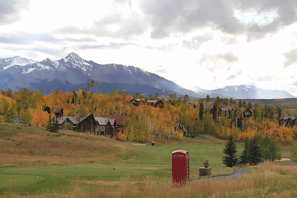Gold course with Wilson Peak (14,017 ft) behind, Telluride, Colorado.