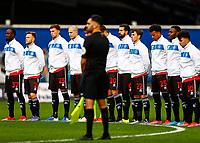 31st October 2020; The Kiyan Prince Foundation Stadium, London, England; English Football League Championship Football, Queen Park Rangers versus Cardiff City; QPR during respectful anthem