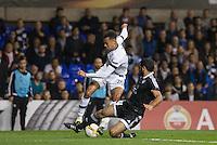 Rashad Sadygov of Qarabag FK blocks Dele Alli of Tottenham Hotspur shot at goal during the UEFA Europa League match between Tottenham Hotspur and Qarabag FK at White Hart Lane, London, England on 17 September 2015. Photo by Andy Rowland.