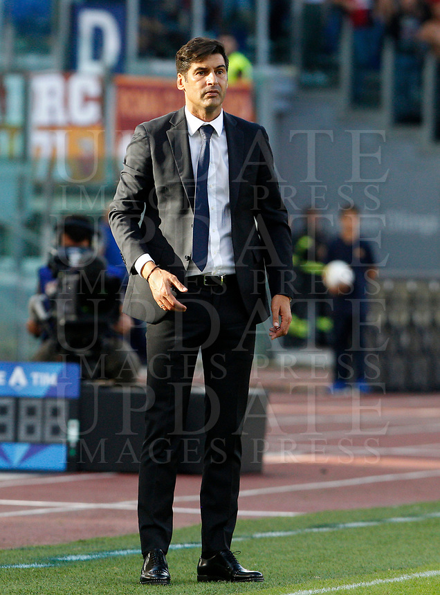 Roma's coach Paulo Fonseca follows the game during the Serie A soccer match between Roma and Cagliari at Rome's Olympic Stadium, October 6, 2019. UPDATE IMAGES PRESS/ Riccardo De Luca
