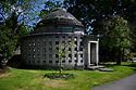 Mausoleum in Golders Green Crematorium gardens, Golders Green, London, UK.