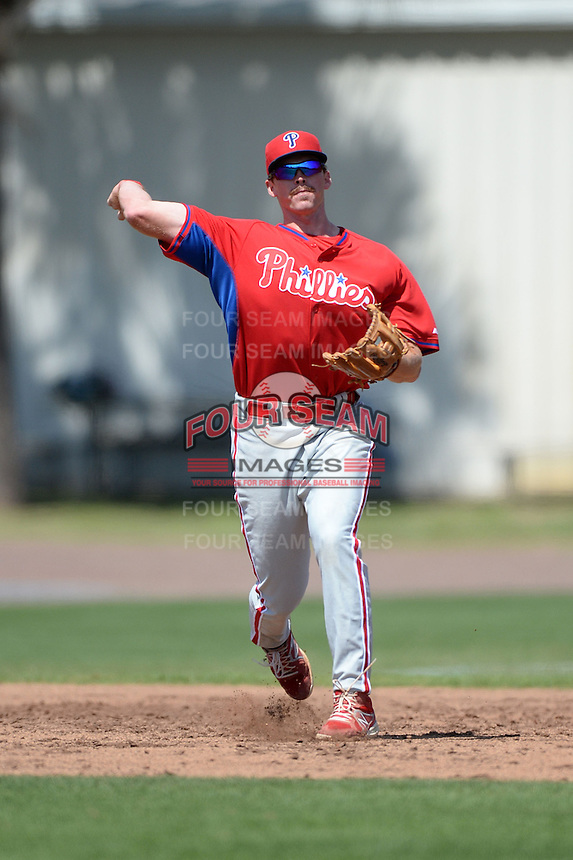 Philadelphia Phillies infielder Zach Green (25) during a minor league spring training game against the Pittsburgh Pirates on March 18, 2014 at the Carpenter Complex in Clearwater, Florida.  (Mike Janes/Four Seam Images)