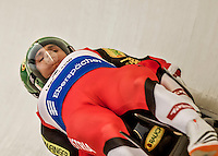 4 December 2015: Thomas Steu and Lorenz Koller, sliding for Austria, bank into a turn on their first run of the Doubles Competition during the Viessmann Luge World Cup Series at the Olympic Sports Track in Lake Placid, New York, USA. Mandatory Credit: Ed Wolfstein Photo *** RAW (NEF) Image File Available ***
