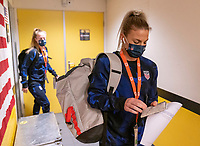 BREDA, NETHERLANDS - NOVEMBER 27: Julie Ertz #8 of the USWNT arrives at the stadium before a game between Netherlands and USWNT at Rat Verlegh Stadion on November 27, 2020 in Breda, Netherlands.