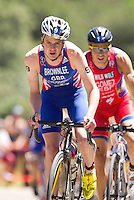 02 JUN 2013 - MADRID, ESP - Jonathan Brownlee (GBR) (left) of Great Britain leads the front pack during the bike at the men's ITU 2013 World Triathlon Series round in Casa de Campo, Madrid, Spain <br /> (PHOTO (C) 2013 NIGEL FARROW)