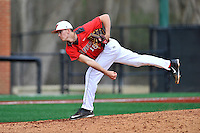 Pitcher Jake Binder (16) of the Fairfield Stags delivers a pitch in a game against the Charlotte 49ers on Saturday, March 12, 2016, at Hayes Stadium in Charlotte, North Carolina. (Tom Priddy/Four Seam Images)
