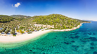 The beach Leftos Gialos of Alonissos island from drone view, Greece