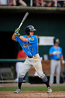 Akron RubberDucks shortstop Ernie Clement (2) at bat during a game against the Harrisburg Senators on August 18, 2018 at FNB Field in Harrisburg, Pennsylvania.  Akron defeated Harrisburg 5-1.  (Mike Janes/Four Seam Images)
