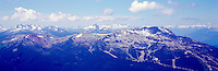 Whistler Mountain Ski Runs, Whistler Ski Resort, BC, British Columbia, Canada, Summer - Black Tusk Peak visible in Center Distance, Panoramic View