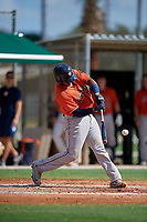 GCL Astros Nerio Rodriguez (58) bats during a Gulf Coast League game against the GCL Marlins on August 8, 2019 at the Roger Dean Chevrolet Stadium Complex in Jupiter, Florida.  GCL Astros defeated GCL Marlins 4-2.  (Mike Janes/Four Seam Images)