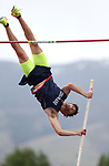 Coronado's Edward Andrews clears 15' in the pole vault to tie for the title at the NIAA Track & Field Championships at Carson High in Carson City, Nev., on Friday, May 18, 2018. Cathleen Allison/Las Vegas Review-Journal