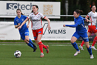 Summer Rogiers (8) of Zulte Waregem and Lorene Martin (6) of KRC Genk pictured during a female soccer game between  Racing Genk Ladies and SV Zulte-Waregem on the 7 th matchday of play off 2 in the 2020 - 2021 season of Belgian Scooore Womens Super League , friday 14 th of May 2021  in Genk , Belgium . PHOTO SPORTPIX.BE   SPP   JILL DELSAUX
