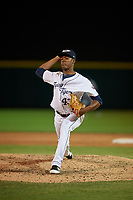 Lakeland Flying Tigers relief pitcher Angel De Jesus (43) during a Florida State League game against the Palm Beach Cardinals on May 22, 2019 at Publix Field at Joker Marchant Stadium in Lakeland, Florida.  Palm Beach defeated Lakeland 8-1.  (Mike Janes/Four Seam Images)