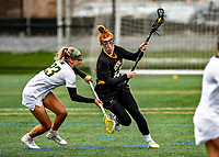 17 April 2021: UMBC Retriever Midfielder Katie Schluederberg, a Graduate Student from Elkridge, MD, in action against the University of Vermont Catamounts at Virtue Field in Burlington, Vermont. The Catamounts fell to the Retrievers 11-8 in the America East Women's Lacrosse matchup. Mandatory Credit: Ed Wolfstein Photo *** RAW (NEF) Image File Available ***