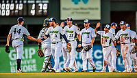 29 July 2018: The Vermont Lake Monsters celebrate a victory against the Batavia Muckdogs at Centennial Field in Burlington, Vermont. The Lake Monsters defeated the Muckdogs 4-1 in NY Penn League action. Mandatory Credit: Ed Wolfstein Photo *** RAW (NEF) Image File Available ***