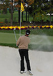 5 October 2008: Mark Hensby tries for a second time to escape a greenside bunker during the final round at the Turning Stone Golf Championship in Verona, New York.