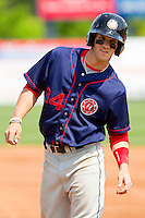 Bryce Harper #34 of the Hagerstown Suns during the game against the Rome Braves at State Mutual Stadium on May 2, 2011 in Rome, Georgia.   Photo by Brian Westerholt / Four Seam Images
