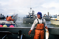 A female deckhand fishes for sockeye salmon aboard a gillnet fishing boat on the North line, in the Egegik River, in Bristol Bay Alaska