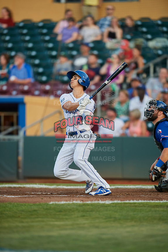 Manny Olloque (8) of the Omaha Storm Chasers bats against the Round Rock Express at Werner Park on May 27, 2018 in Papillion , Nebraska. Round Rock defeated Omaha 8-3. (Stephen Smith/Four Seam Images)
