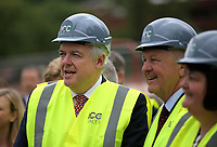 Pictured L-R: Carwyn Jones, Stephen Bowcott and Debbie Wilcox. Friday 23 June 2017<br /> Re: First Minister for Wales Carwyn Jones has joined Sir Terry Matthews, Chairman of the Celtic Manor Resort; Stephen Bowcott, Chief Executive of Sisk Group Construction; and Debbie Wilcox, Leader of Newport City Council, to break ground on the site of the new ICC Wales.<br /> Around 80 invited guests from the public and private sectors of the events industry have also witnessed the ground breaking ceremony which marks the official start of the construction of the new venue, due to open in 2019.<br /> The dignitaries will use commemorative spades to symbolically dig the first ground on the new site, marking the start of building work in earnest.