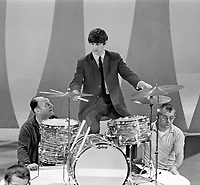 Ringo Starr rehearses for Beatles appearance on Ed Sullivan Show, February 1964, New York. Photographer John G. Zimmerman. C1-13.