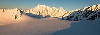 Sunset on Mt. Elie de Beaumont 3109m on horizon from top of Franz Josef Glacier, Westland Tai Poutini National Park, West Coast, UNESCO World Heritage Area, New Zealand, NZ