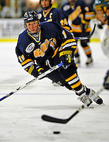 16 November 2008: Merrimack College Warriors' forward Elliott Sheen, a Freshman from Lethbridge, Alberta, in action against the University of Vermont Catamounts at Gutterson Fieldhouse, in Burlington, Vermont. The Catamounts defeated the Warriors 2-1 in front of a near-capacity crowd of 3,813...Mandatory Photo Credit: Ed Wolfstein Photo