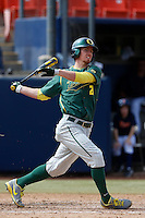 Ryan Hambright #21 of the Oregon Ducks bats against the Cal State Fullerton Titans at Goodwin Field on March 3, 2013 in Fullerton, California. (Larry Goren/Four Seam Images)
