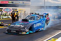 Jul 11, 2020; Clermont, Indiana, USA; NHRA funny car driver Paul Lee during qualifying for the E3 Spark Plugs Nationals at Lucas Oil Raceway. This is the first race back for NHRA since the start of the COVID-19 global pandemic. Mandatory Credit: Mark J. Rebilas-USA TODAY Sports