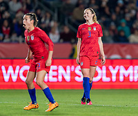 CARSON, CA - FEBRUARY 7: Sam Mewis #3 of the United States celebrates during a game between Mexico and USWNT at Dignity Health Sports Park on February 7, 2020 in Carson, California.