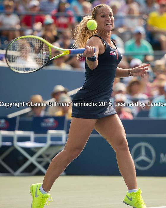 Dominika Cibulkova (SVK) battles to a tie-breaker against Eugenie Bouchard (CAN)  6-6 at the US Open in Flushing, NY on September 4, 2015.