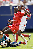 Panama's goalkeeper Jaime Penedo makes a save on DaMarcus Beasley of the USA. The United States defeated Panama 3-1 in a shoot out after a scoreless game to win the CONCACAF Gold Cup at Giant's Stadium, East Rutherford, NJ, on July 24, 2005.