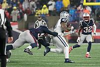FOXBOROUGH, MA - NOVEMBER 24: New England Patriots Linebacker Elandon Roberts #52 tackles Dallas Cowboys Cornerback Byron Jones #31 during a game between Dallas Cowboys and New England Patriots at Gillettes on November 24, 2019 in Foxborough, Massachusetts.
