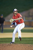 Liberty Flames relief pitcher Zach Clinton (6) in action against the Wake Forest Demon Deacons at David F. Couch Ballpark on April 25, 2018 in  Winston-Salem, North Carolina.  The Demon Deacons defeated the Flames 8-7.  (Brian Westerholt/Four Seam Images)