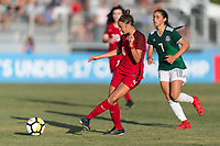 Bradenton, FL - Sunday, June 12, 2018: Talia DellaPeruta, Nayeli Diaz during a U-17 Women's Championship Finals match between USA and Mexico at IMG Academy.  USA defeated Mexico 3-2 to win the championship.