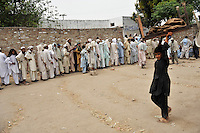 People from Swat and Buner districts try to register for shelter at one of the nearby UNHCR refugee camps. The Pakistani government began an offensive against the Taliban in the Swat Valley in April 2009, which led to a major humanitarian crisis. Up to two million civilians were estimated to have been displaced by the fighting.