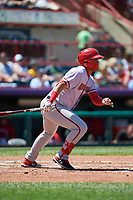Harrisburg Senators Luis Garcia (21) at bat during an Eastern League game against the Erie SeaWolves on June 30, 2019 at UPMC Park in Erie, Pennsylvania.  Erie defeated Harrisburg 4-2.  (Mike Janes/Four Seam Images)